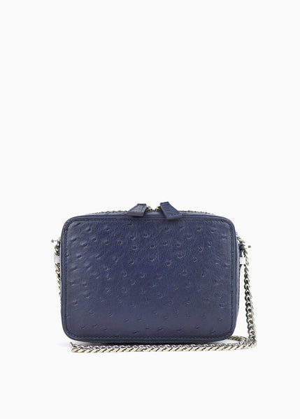 Mini Box Crossbody in Indigo Blue Pocho Ostrich