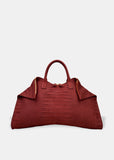 Oversized Folded Tote in Wine
