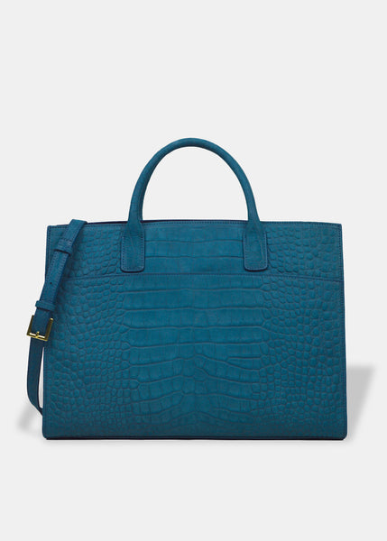 Oversized Everyday Tote in Teal Blue