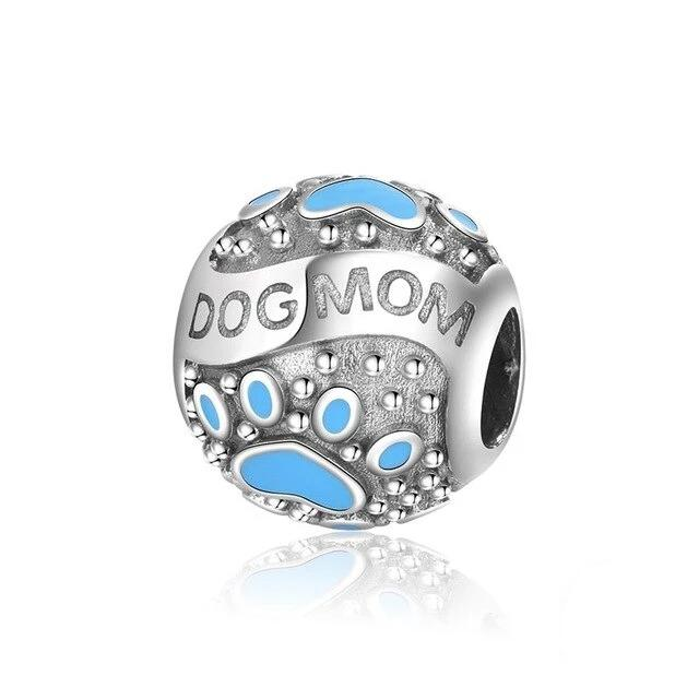 Dog Mom Charm Beads (925 sterling silver )