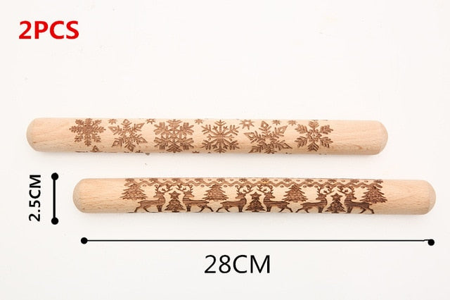 Christmas Engraved Rolling Pin For Cookies