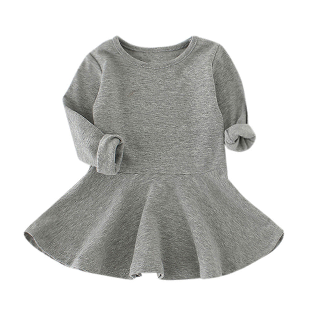 Baby Girls Long Sleeve Casual Toddler Kids Dress