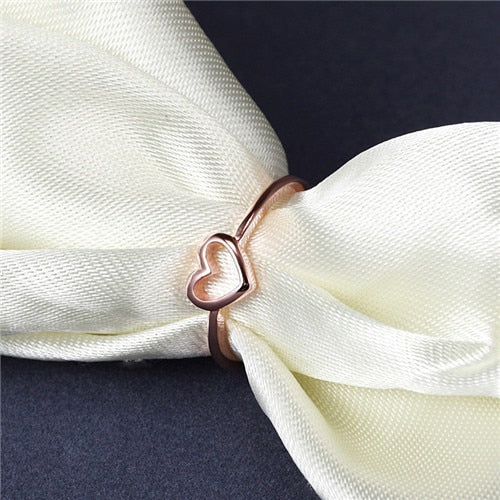 2019 New Fashion Rose Gold Heart Shaped Ring