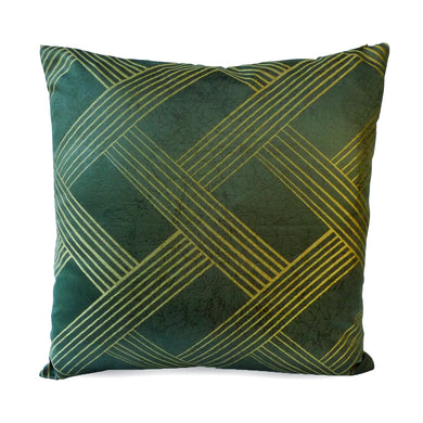 Gold Green Weave Cushion Cover