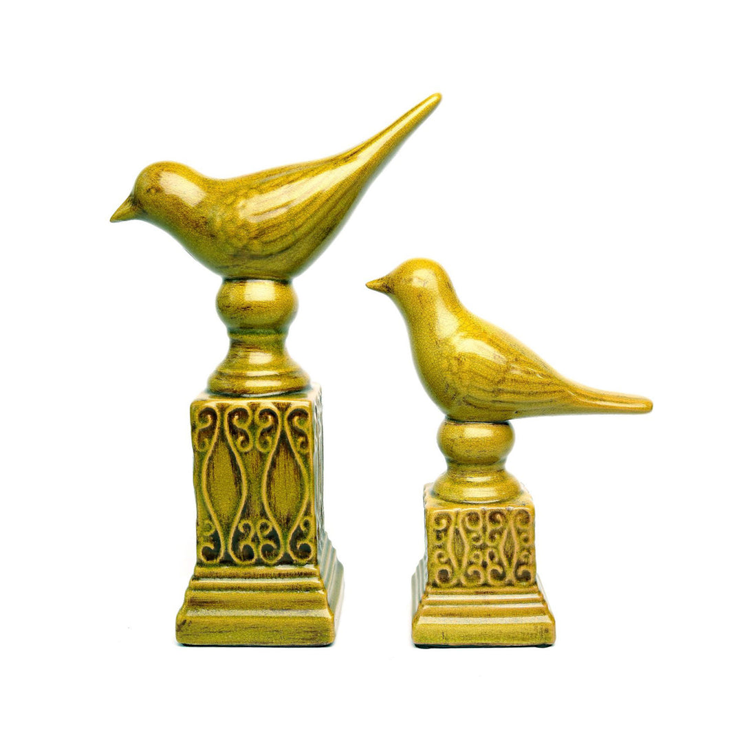 Mustard Yellow Bird Statue Pair, Ceramic
