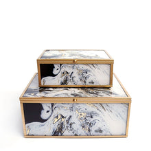 Black and White Marble Boxes. Sold in a Pair