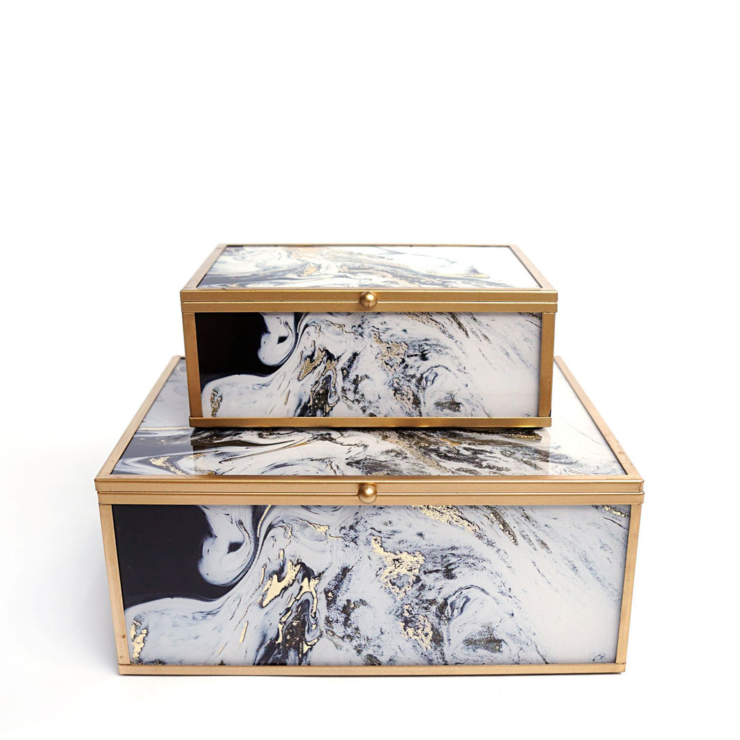 Lamont Jewelry Boxes, Black and White, Set of 2