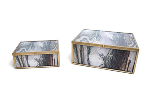 Brown and Gold Marble Boxes. Sold in a Pair