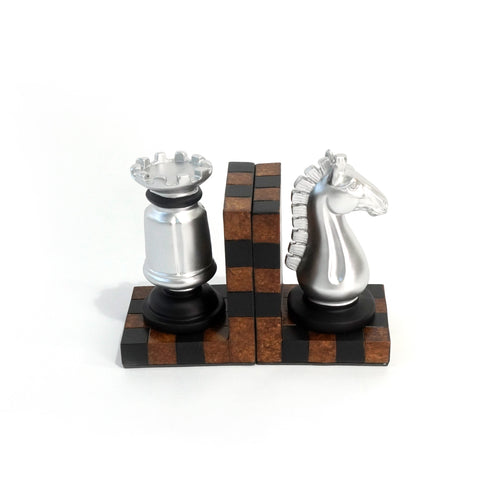 Chess Bookends, Silver and Brown