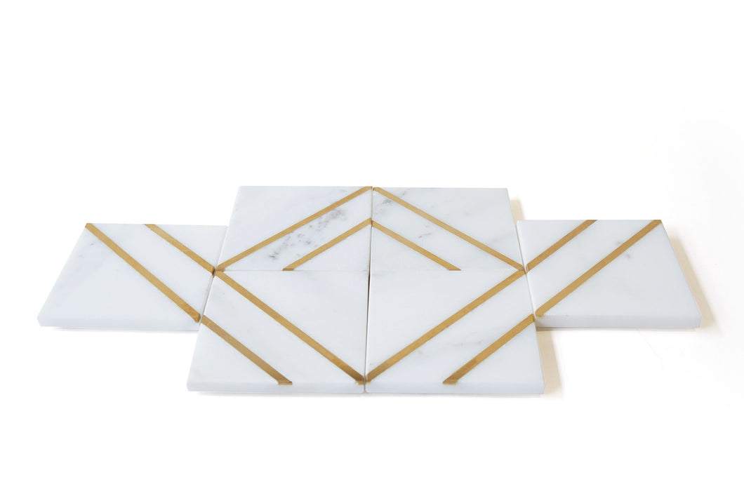 Remy Coasters, White Marble, Set of 6