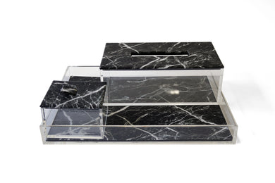 Black Marble Print Acrylic Container Box