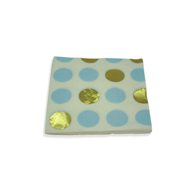 Paper Napkins Blue Gold Polka Dots. Pack of 3