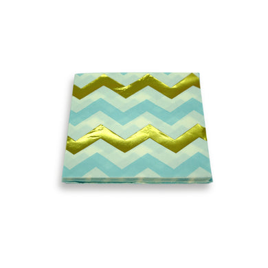 Paper Napkins Blue Gold Chevron. Pack of 3
