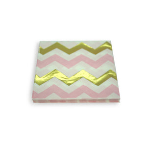 Paper Napkins Pink Gold Chevron. Pack of 3