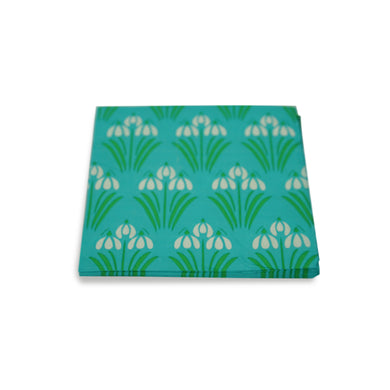 SALE! Paper Napkins Turquoise Floral. Pack of 3