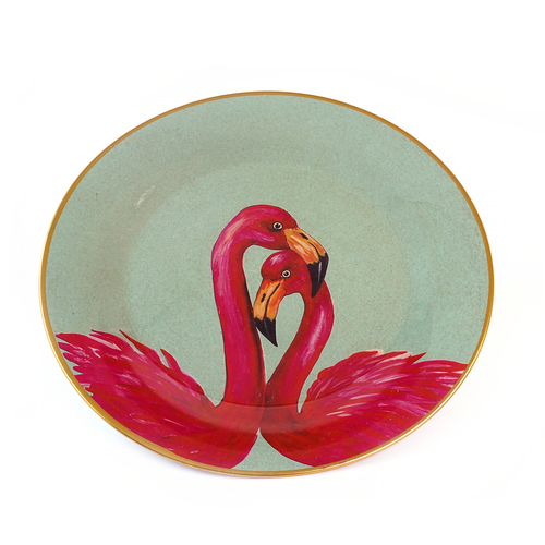 Flamingo Plate, Pink Green