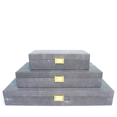 Grey Leather Box Set of 3