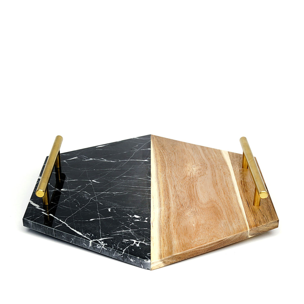 Hexagon Black Marble and Wood Tray