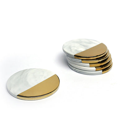 Marble Gold Round Coasters. Set of 6