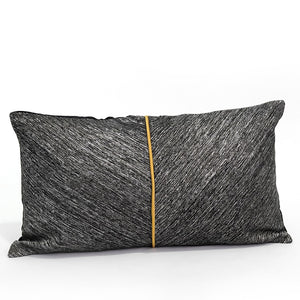 Marlon Cushion Cover, Charcoal Grey and Brown Leather, 30x50cm