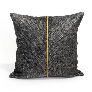 Marlon Cushion Cover, Charcoal Grey and Brown Leather, 45x45cm