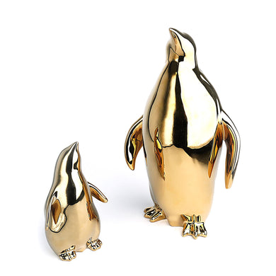Gold Penguin Figurines. Set of 2