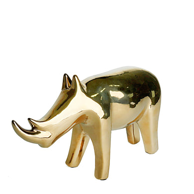 Gold Rhinoceros Figurine