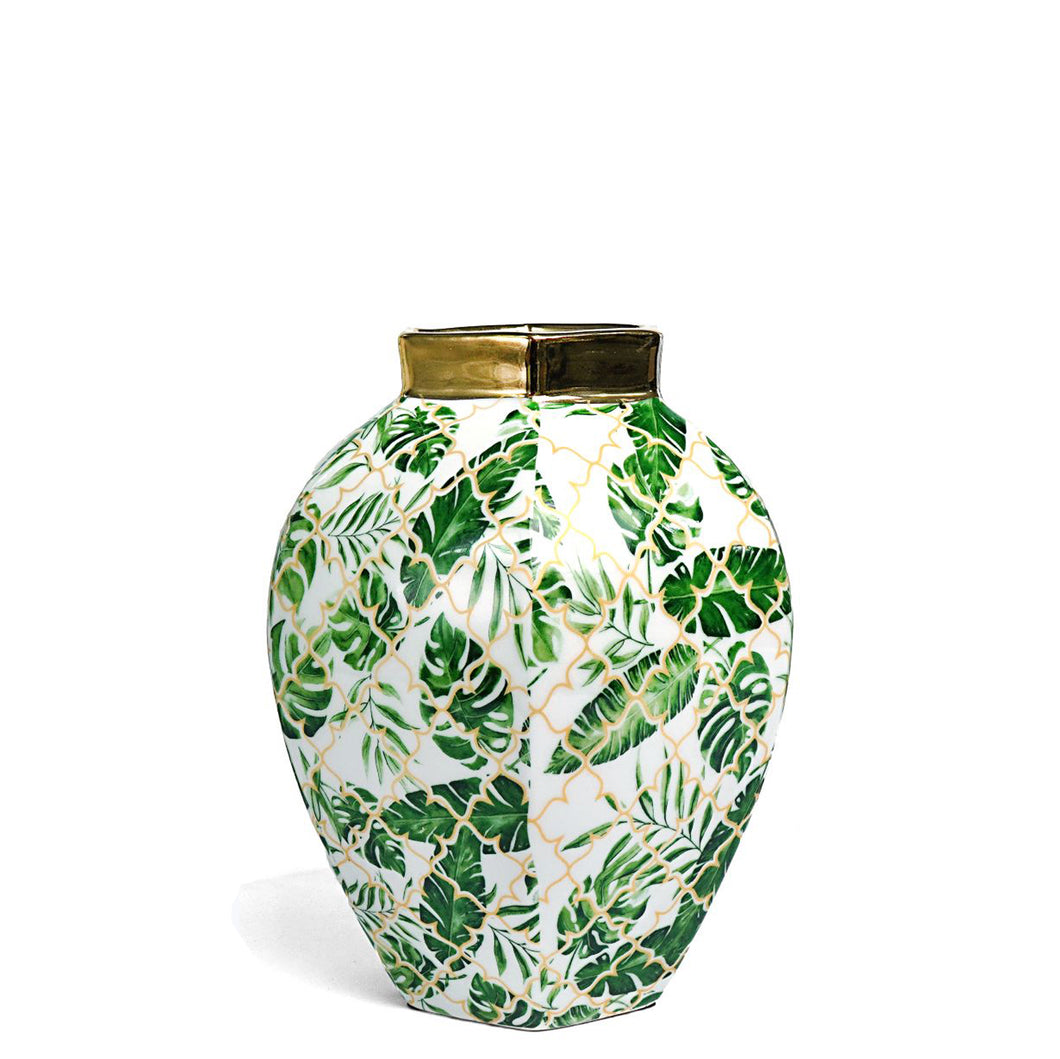 Leaf Design and Gold Vase Small