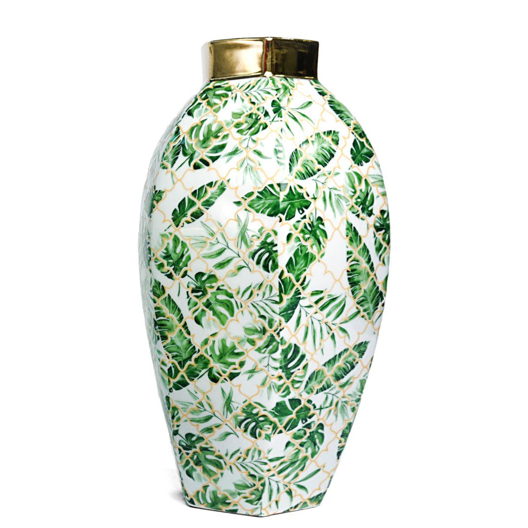 Leaf Design and Gold Vase Large