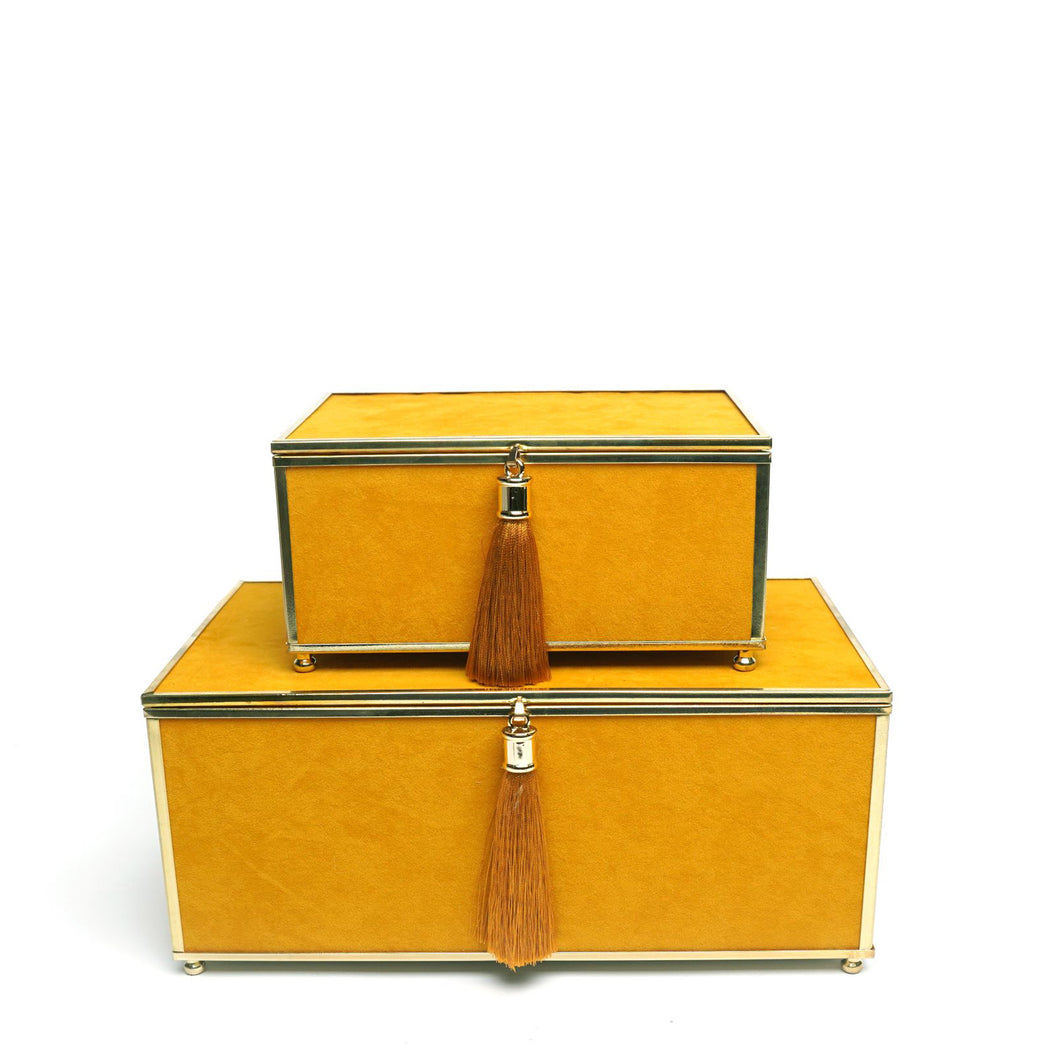 Yellow Tassle Boxes. Set of 2
