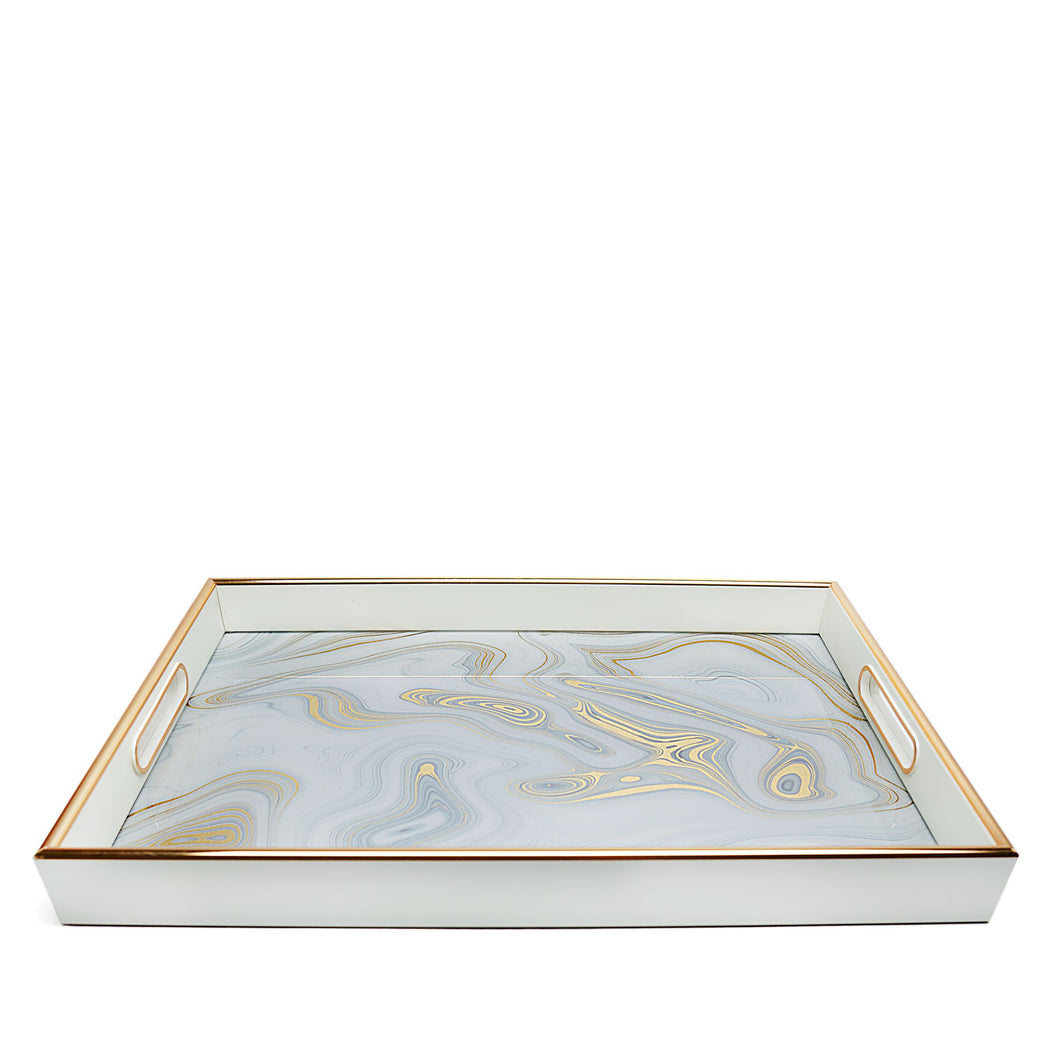 White Marble Print and Gold Tray