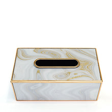 White Marble and Gold Tissue Box