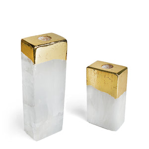 Crystal Tall Candle Holders. Sold as a Pair