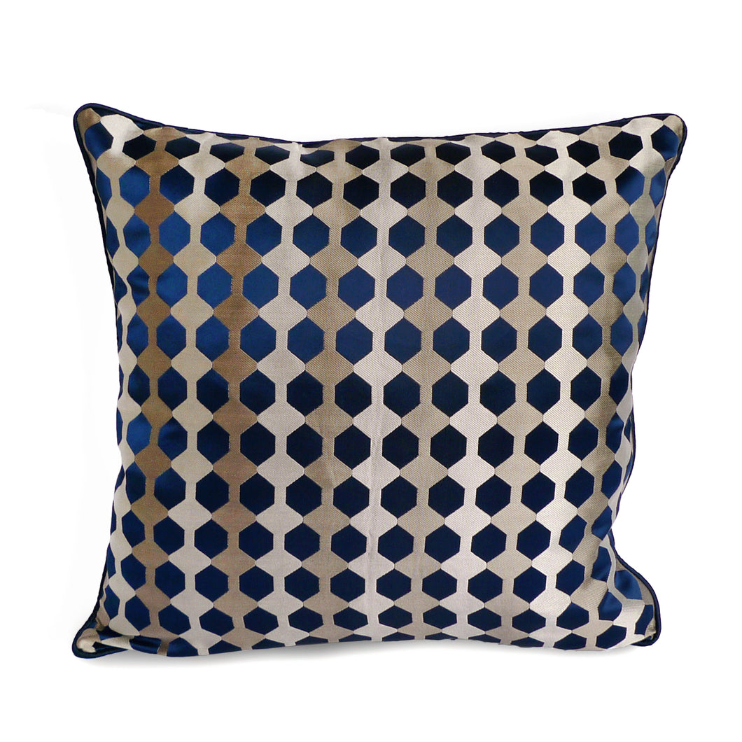 Velour Cushion Cover, Cotton Polyester, Deep Blue