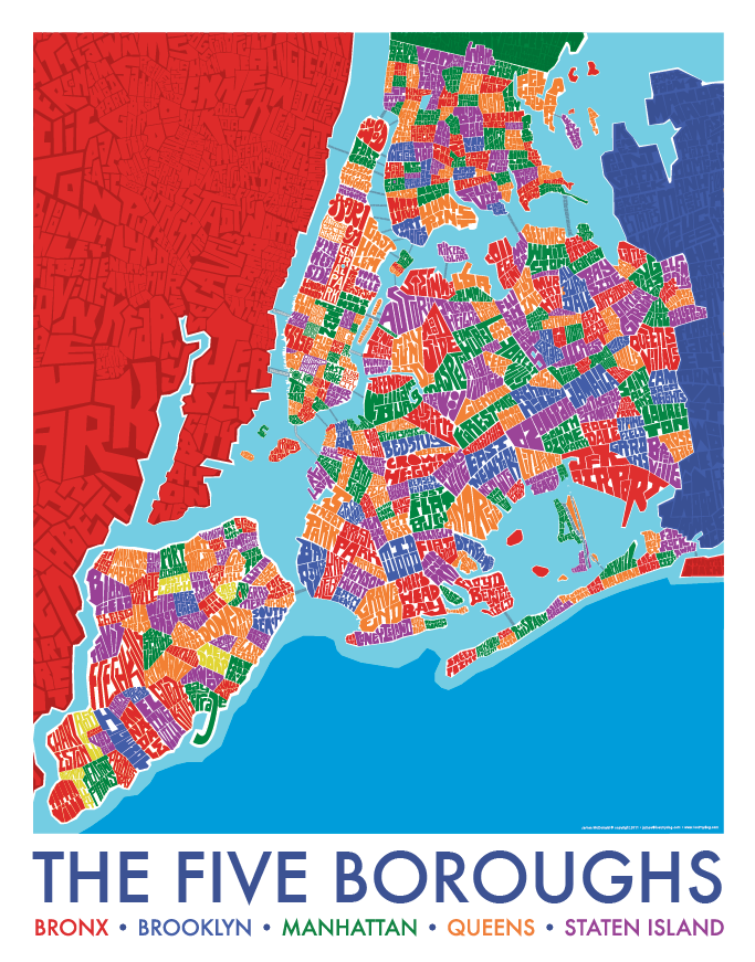 Map Of New York Neighborhoods Manhattan.5 Borough Neighborhood Type Map