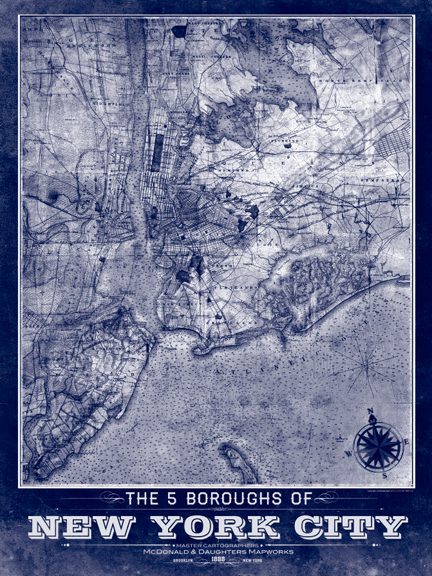 5 Borough New York City Vintage Remixed Map I Lost My Dog