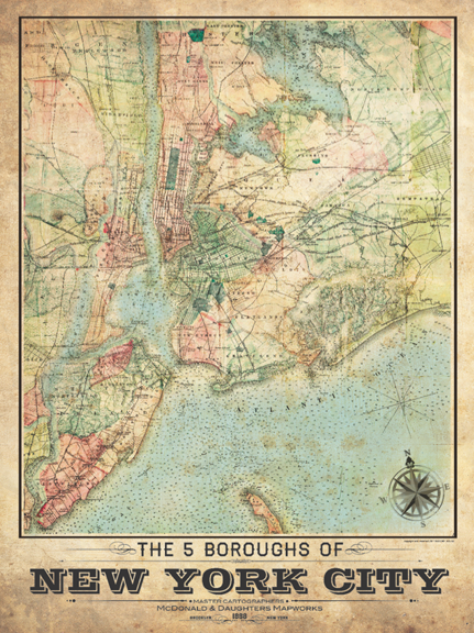 City Map Of New York City.5 Borough New York City Vintage Remixed Map