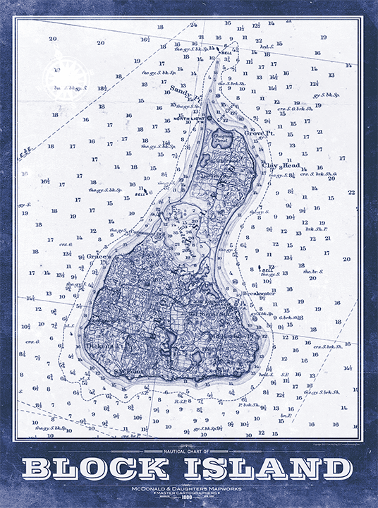 Block Island Vintage Remixed Map
