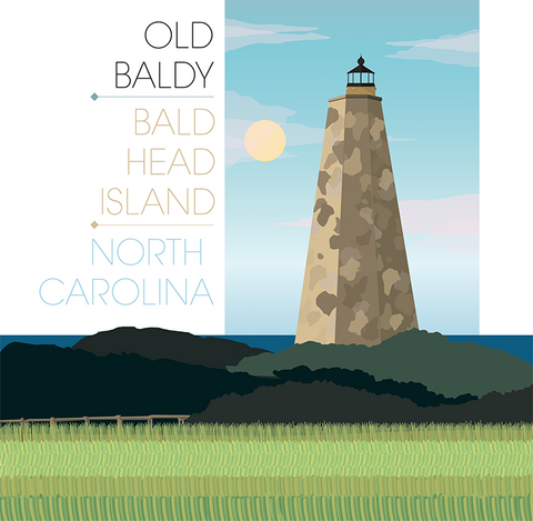 Bald Head Light Lighthouse Illustration