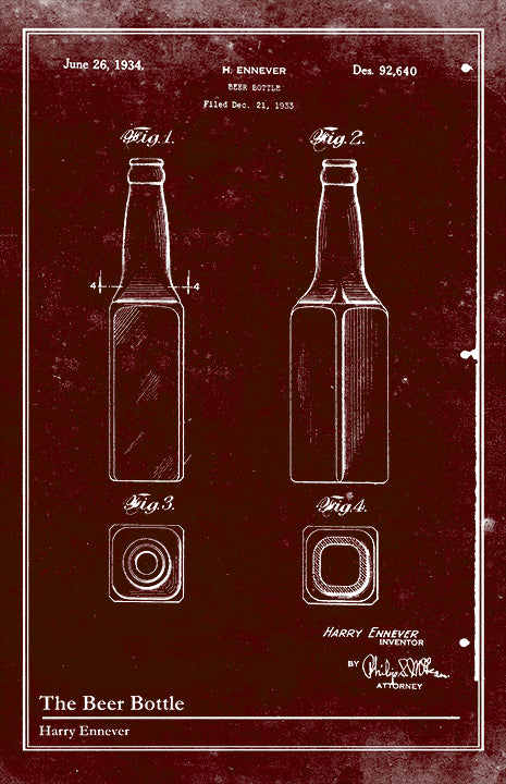 Beer Bottle-Patent Invention Art