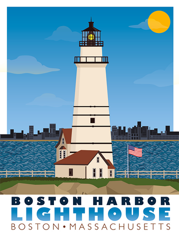 Boston Harbor Lighthouse Illustration