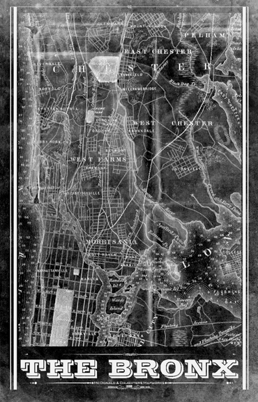 Bronx NY Vintage Remixed Map