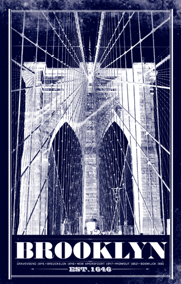 brooklyn bridge vintage travel poster i lost my dog. Black Bedroom Furniture Sets. Home Design Ideas