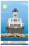 "Long Beach Bar ""BUG"" Light Lighthouse Illustration"