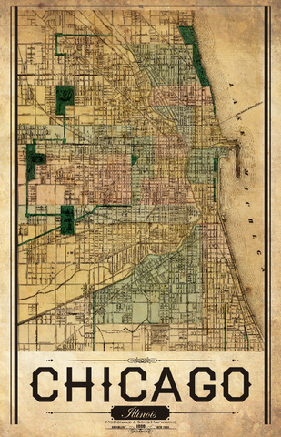 Chicago Vintage Remixed Map