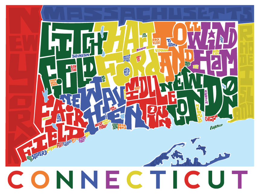 Connecticut Counties Type Map Poster