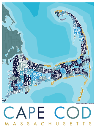 Cape Cod Type Map Poster