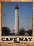 Cape May Lighthouse Vintage Travel Poster