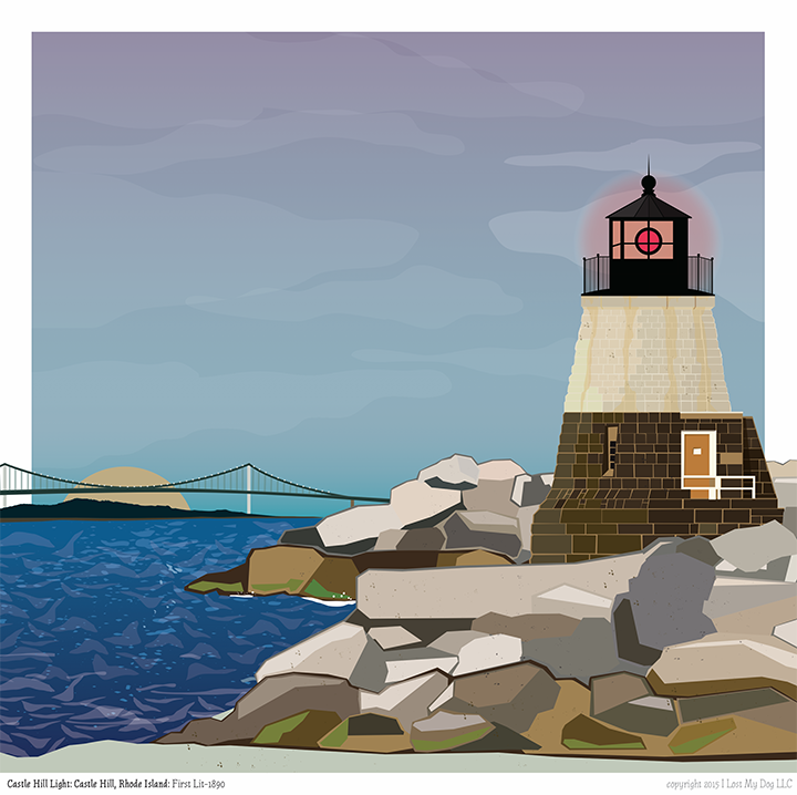Castle Hill Light Lighthouse Illustration