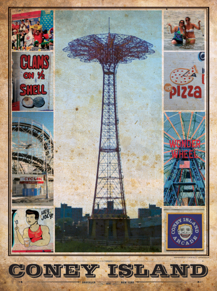 Coney Island Vintage Travel Poster